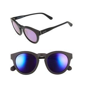 Diff Dime II matte black rim, mirror pink lenses